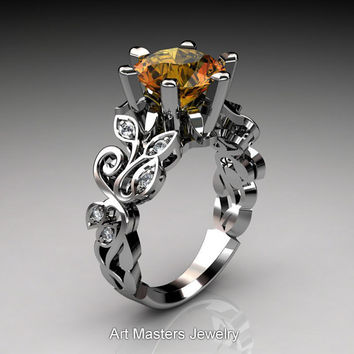 Nature Inspired 950 Platinum 3.0 Ct Citrine Diamond Leaf and Vine Crown Solitaire Ring RD101-PLATDCI