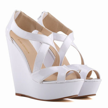 Fashion Fish Mouth Wedge Sandals Patent Leather Ultra High Heels Zipper Platform Shoes Woman Dancing Party Shoes Big Size 42