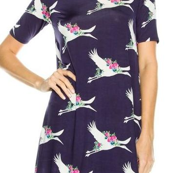 Women's Swing Dress Stork Print Navy Blue: M/L