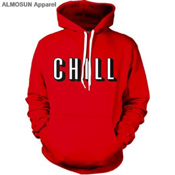 ALMOSUN Netflix and Chill 3D All Over Printed Hoodies Pockets Sweatshirt Hipster Street Wear Top Harajuku Men Women US Size