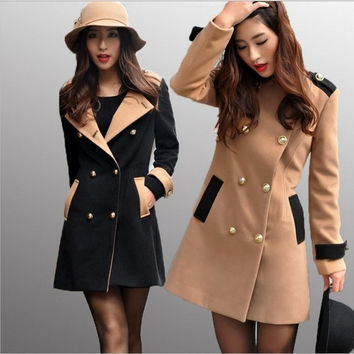 New Women Winter Double-Breasted Wool Coat Faux Fur Trench Parka Jacket Outwear = 1929782660