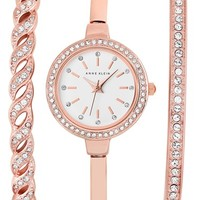 Women's Anne Klein Crystal Bezel Watch & Bangle Set, 24mm - Rose Gold