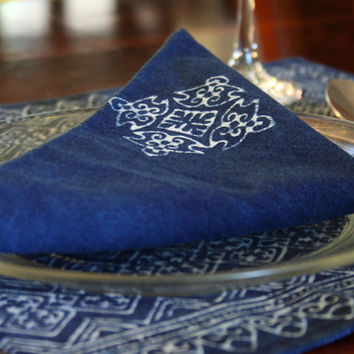 Cloth Napkins In Natural Indigo Batik Cotton, Choice Of 3 Hand Stamped Patterns