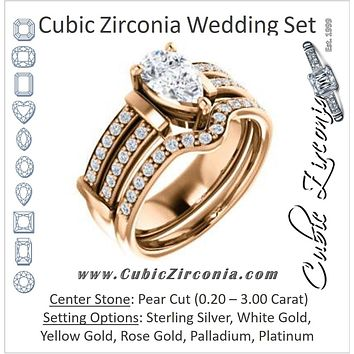 CZ Wedding Set, featuring The Rachana engagement ring (Customizable Pear Cut Design with Wide Split-Pavé Band and Euro Shank)