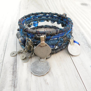 Silk Road Bangle Stack, Cobalt Blue, 6 Silk Wrapped Boho Tribal Bracelets, Set with Gypsy Coin Charms
