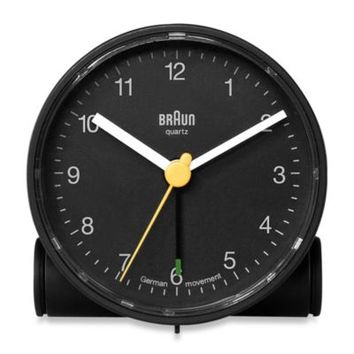Braun® Round Travel Alarm Clock in Black