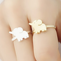 Lucky Charm Baby Elephant Personalized Silver Rose Gold Plated Rings for BFF