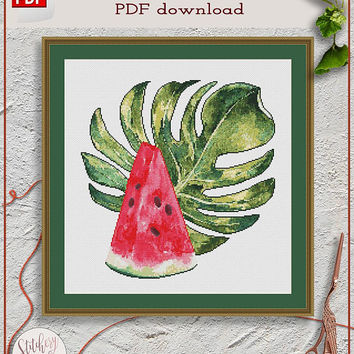 Watermelon cross stitch pattern, Tropical leaf cross stitch, Summer cross stitch, Watercolor cross stitch, Modern cross stitch pattern PDF