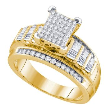 Yellow-tone Sterling Silver Womens Round Diamond Cluster Bridal Wedding Engagement Ring 5/8 Cttw