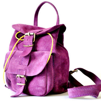 Suede Deep Purple Leather Backpack