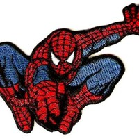 Spider-Man Embroidered Iron-On Patch (flying, shooting spider web)