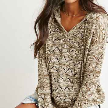 Marled Open Knit Hoodie