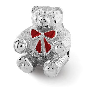 Sterling Silver & Enamel Teddy Bear with Red Bow Bead Charm
