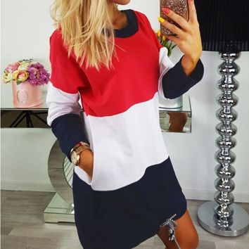 Autumn Women Color Block Long Sleeve Hoodie Sweatshirts 2017 Casual Long Clothing Top O Neck All Matched Pullover Free Shipping