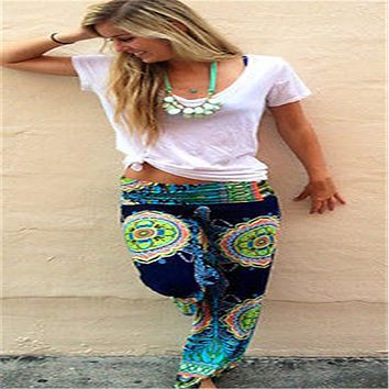 Long Gaucho Boho Flare High Waist  Wide Leg Chic Sophisticated Casual Sassy Loose Pants Tie-dyed wide leg pants