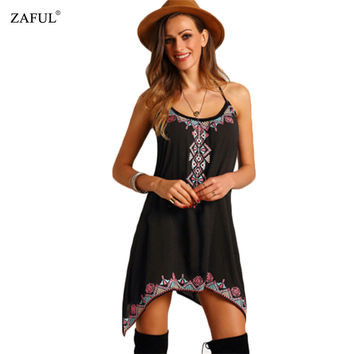 ZAFUL Summer Women Dress Sexy Bohemian Boho Spaghetti Strap Off Shoulder V-neck Print Woman Mini Dresses Black Feminino Vestidos