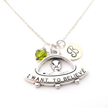UFO Alien Charm Personalized Necklace