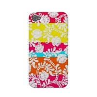 Neon Floral Summer Stylish Batik Inspired Case-mate Iphone 4 Cases from Zazzle.com