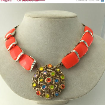 ON SALE Bright Orange Assemblage Necklace Statement Multicolored Rhinestones Up cycled Repurposed Vintage Jewelry OOAK