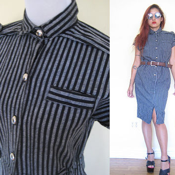 Vintage 80's black gray grey stripe military button down secretary pencil dress