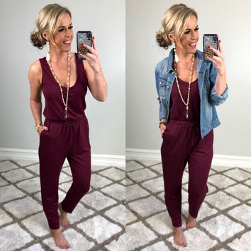 No New Details Jumpsuit: Burgundy
