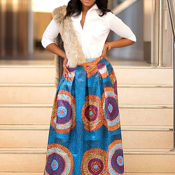 Lulu Pleated Satin Maxi Skirt (Teal/Gold Circles)