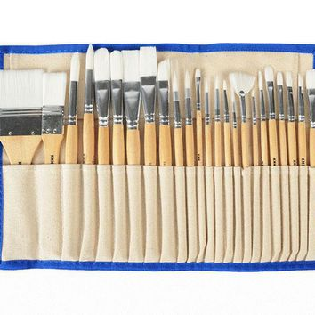 VIVCOR 24 pcs/set Oil Painting Brush Set Suit Acrylic Painting Brushes Paint Brush Set Nylon Hair Watercolor Gouche Brushes