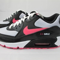 NEW JUNIORS NIKE AIR MAX 90 2007 345017-015 PR PLTNM/ DYNMC PNK- BLCK-ANTHRC