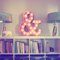 """24"""" Ampersand """"&"""" Vintage Marquee Lights Sign (Rustic)"""