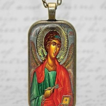 Russian 0rthodox Icon St Gabriel Messenger of God Necklace Handmade