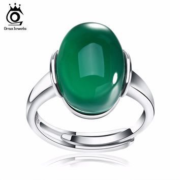 ORSA JEWELS Genuine 925 Silver Rings with Big Green/Red Natural Stone New Sterling Silver Couple Rings for Women Men SR24