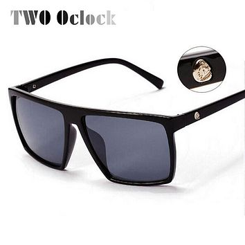 TWO Oclock Retro Steampunk Square Sunglasses Men Brand Designer SKULL Logo Coating Sun Glasses for Men Points Black Oculos 1825