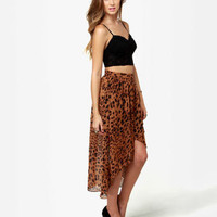 Sexy Leopard Print Skirt - Brown Skirt - High-Low Skirt - $39.00