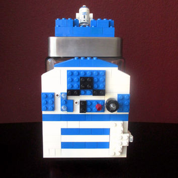 Lego R2-D2.Lego Glass Candy/Keepsake Jar~Artoo LEGO Star Wars Party.Droids.Jedi.Star Wars Birthday Party Gift.R2-D2 Centerpiece.Home Decor.