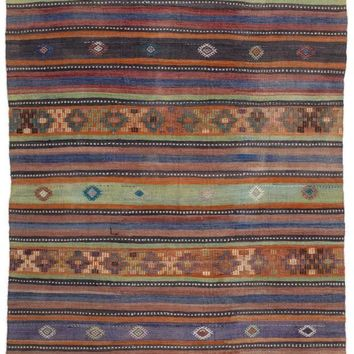 Handmade  Unique Striped Over Dyed Kilim Rug 5'7'' X 11'3'' FT 170 X 343 CM (Free Shipping)