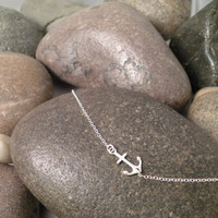 Sterling Silver Sideways Anchor Necklace Embedded Anchor