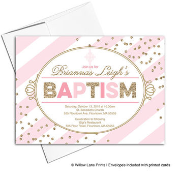 Baptism invitation girl printable | pink and gold christening invites | digital or printed - WLP00206