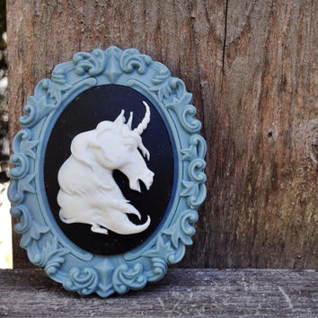 Unicorn Brooch, unicorn cameo broach, horse lapel pin, fantasy, navy blue white, cornflower blue, steampunk, gothic goth, magical, victorian