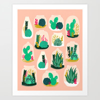 Terrariums - Cute little planters for succulents in repeat pattern by Andrea Lauren Art Print by Andrea Lauren Design