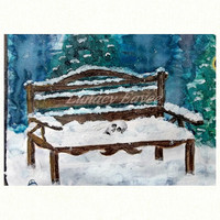 Watercolor Print - 5 x 7 - 8 x 10 - Wall Art - Wall Decor - Winter Art - Skull Art - Clock - Winter Wonderland - Snow - Wooden Bench - Cold