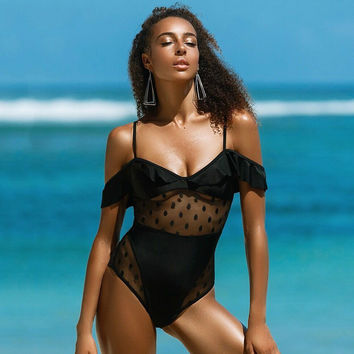 Halter Sexy Cut Out One Piece Swimsuit