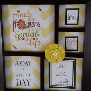Up-cycled Cottage Chic Positive Saying Picture Frame - Black Frame - Yellow and White Background with Yellow Flower with Bling for an Accent