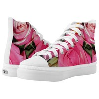 Hi Top Sneakers with Pink, White and Yellow Roses.