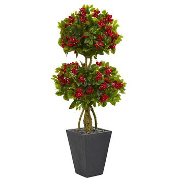 5' Double Bougainvillea Topiary Artificial Tree in Slate Planter
