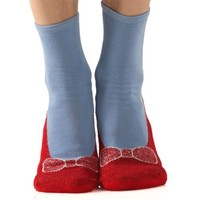 Foot Traffic Non-skid Red Ruby Slippers/Blue Slipper Socks by Foot Traffic, Women's size 4-10
