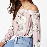 DCCKYB5 Kendall & Kylie Drawstring Off-The-Shoulder Top