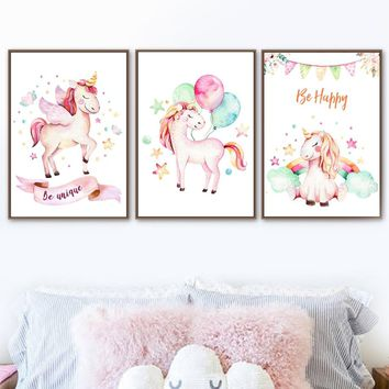 Be Happy Unicorn Watercolor Nordic Poster And Prints Wall Art Canvas Painting Wall Pictures For Kids Baby Girl Room Home Decor