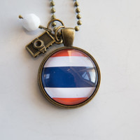 Flag of Thailand Pendant Necklace - Adoption Jewelry - Patriotic Jewelry - Custom Jewelry Travel Necklace Missions Jewelry South East Asia