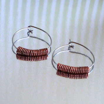 Recycled Copper Coil And Stainless Steel Hoop Earrings