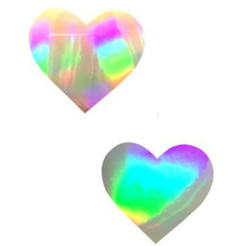 Silver Foil Ultra Holographic Heart Pasties